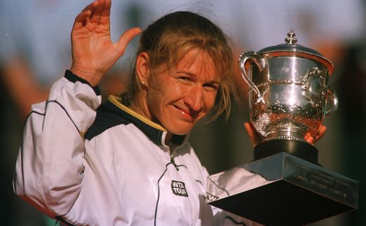 Steffi Graf with French Open trophy PA