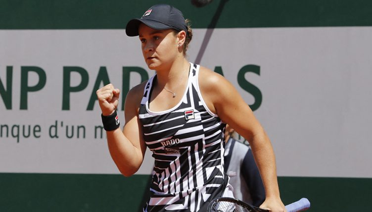 Ashleigh Barty celebrates at the French Open