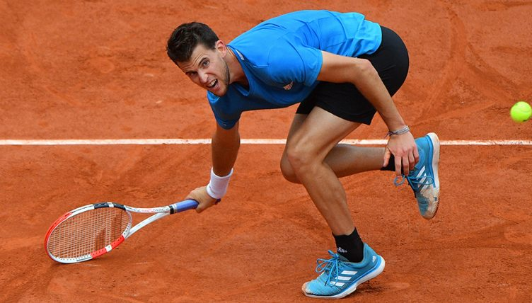 Dominic Thiem lunges for ball at French Open