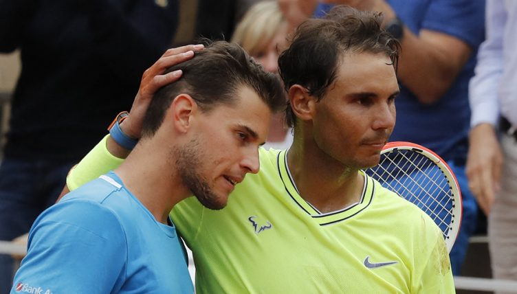 Dominic Thiem and Rafael Nadal at French Open