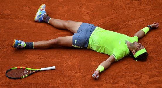 Rafael Nadal starfishes at French Open 2019