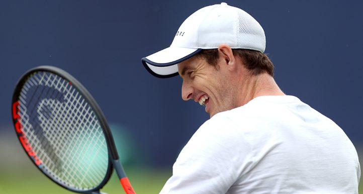 Andy Murray smiling at Queen's practice PA