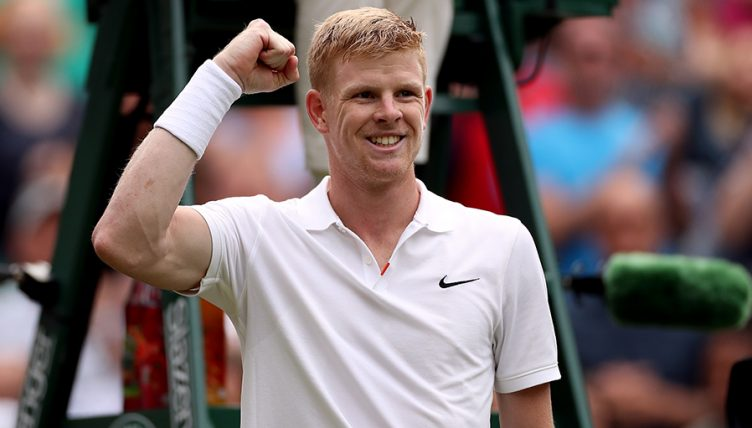 Kyle Edmund celebrates at Wimbledon