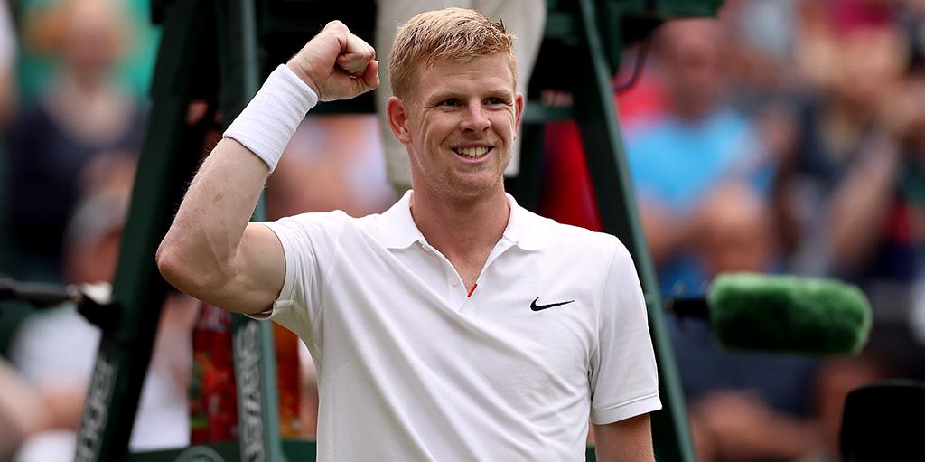 Kyle Edmund celebrates at Wimbledon
