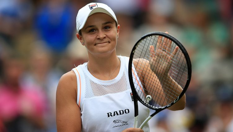 Ashleigh Barty celebrates win at Wimbledon