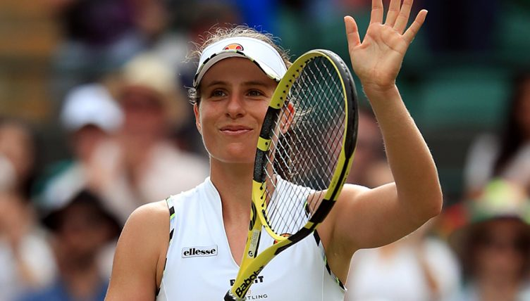 Johanna Konta celebrates at Wimbledon