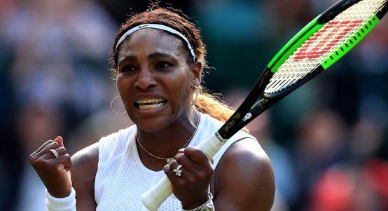 Serena Williams celebrates at Wimbledon