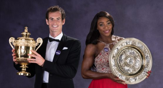 Andy Murray and Serena Williams with Wimbledon titles