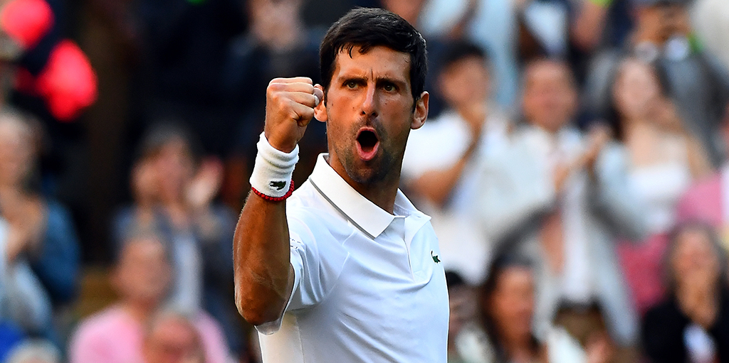Novak Djokovic pumped up at Wimbledon