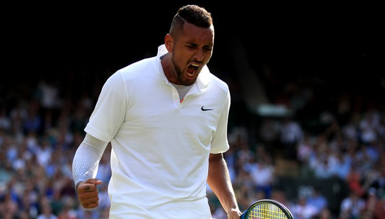 Nick Kyrgios reacts at Wimbledon