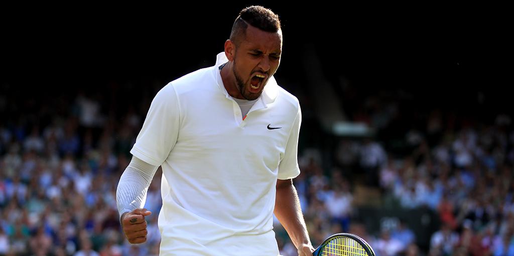 Nick Kyrgios reacts at Wimbledon