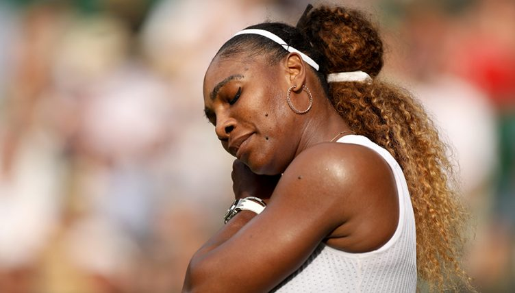 Serena Williams looking down at Wimbledon