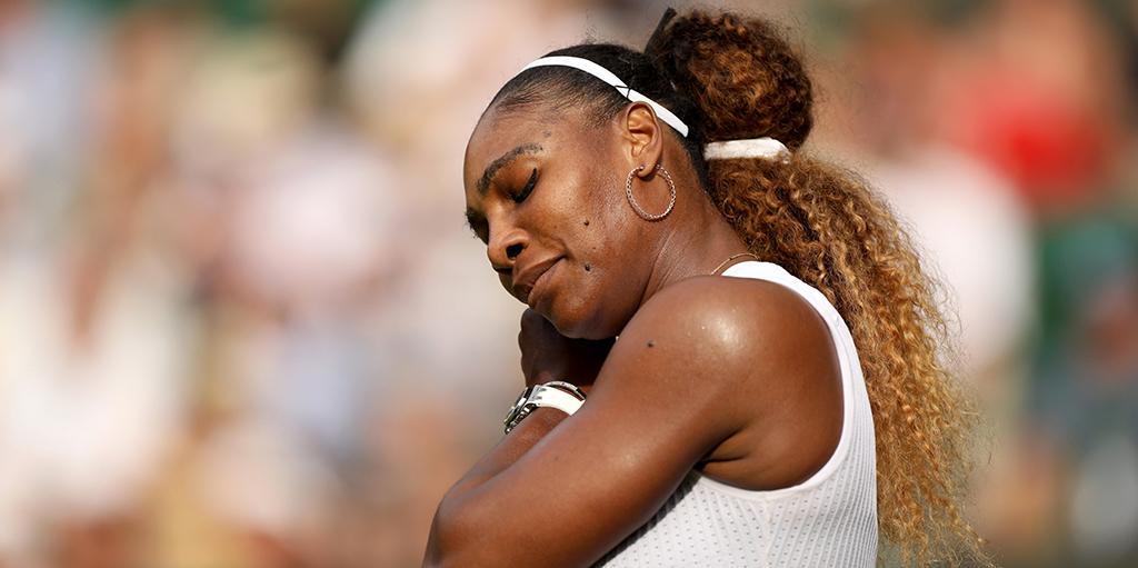 Serena Williams looking down at Wimbledon