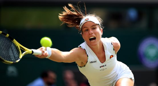 Johanna Konta stretches for forehand
