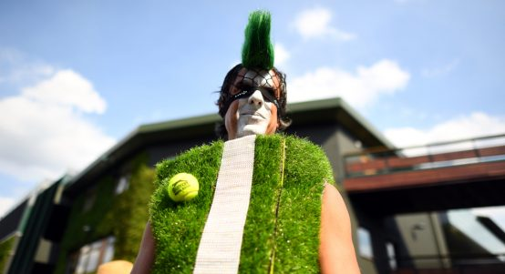 Wimbledon fan dressed up as Centre Court