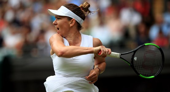 Simona Halep in action at Wimbledon