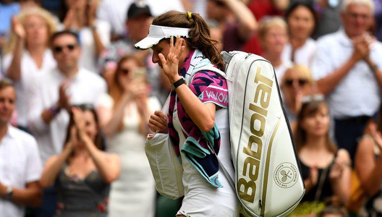 Johanna Konta dejected at Wimbledon