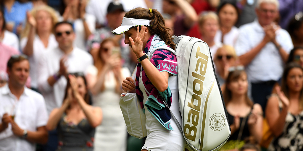 Johanna Konta dejected at Wimbledon