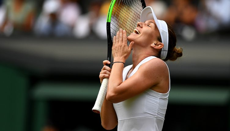 Simona Halep celebrates at Wimbledon