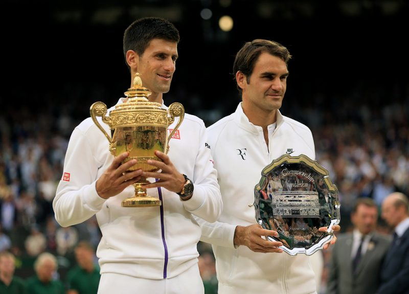 Novak Djokovic and Roger Federer Wimbledon 2014