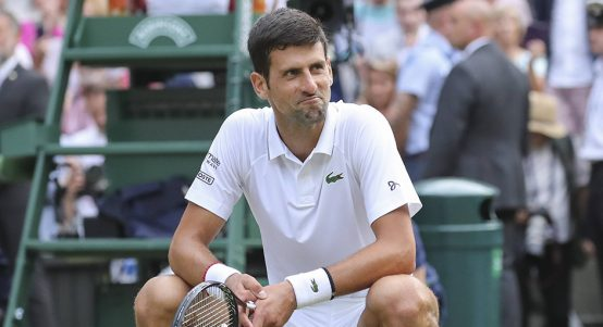 Novak Djokovic reacts Wimbledon title