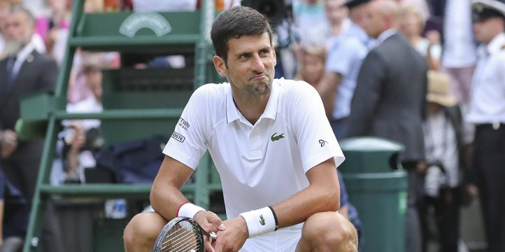 Novak Djokovic reacts Wimbledon title