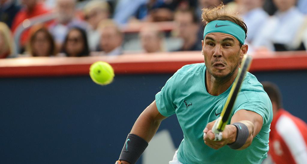Rafael Nadal reaching in Montreal