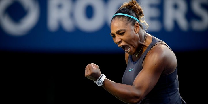 Serena Williams celebrates at Rogers Cup