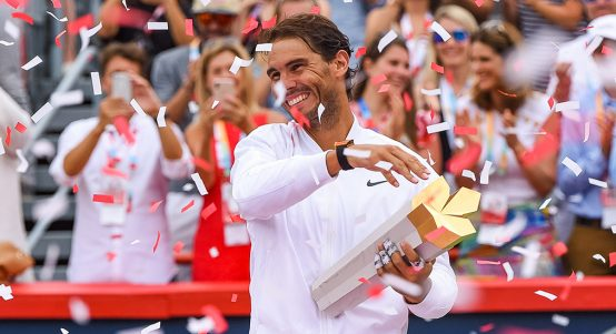 Rafael Nadal celebrates winning Rogers Cup
