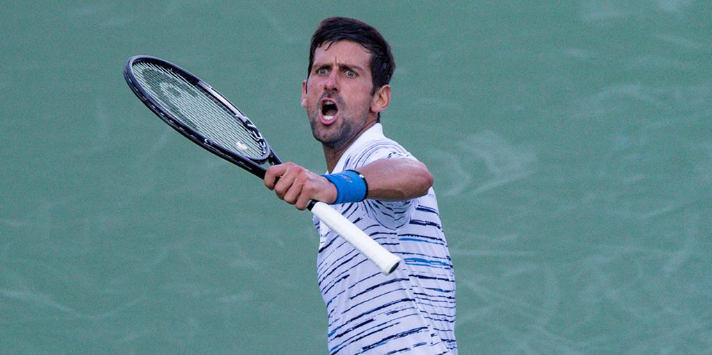 Novak Djokovic celebrates in Cincinnati