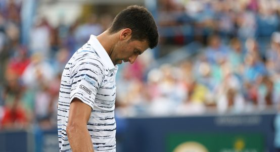 Novak Djokovic looking down in Cincinnati