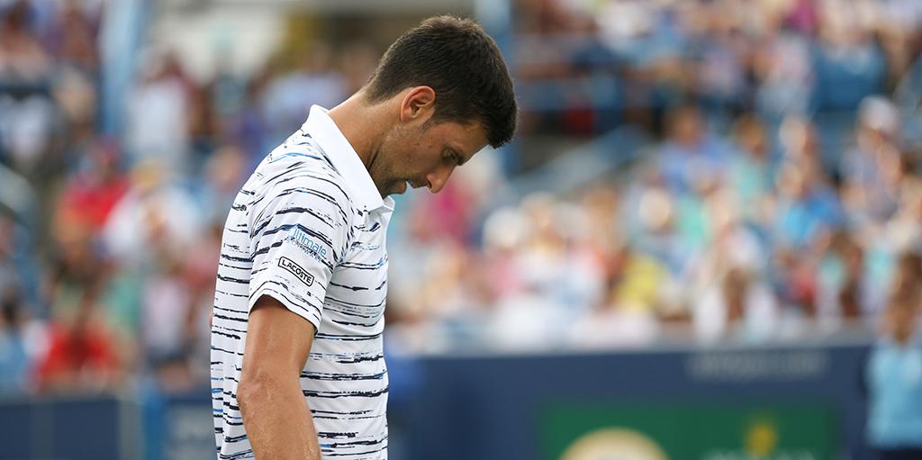 Novak Djokovic looking down in Cincinnati