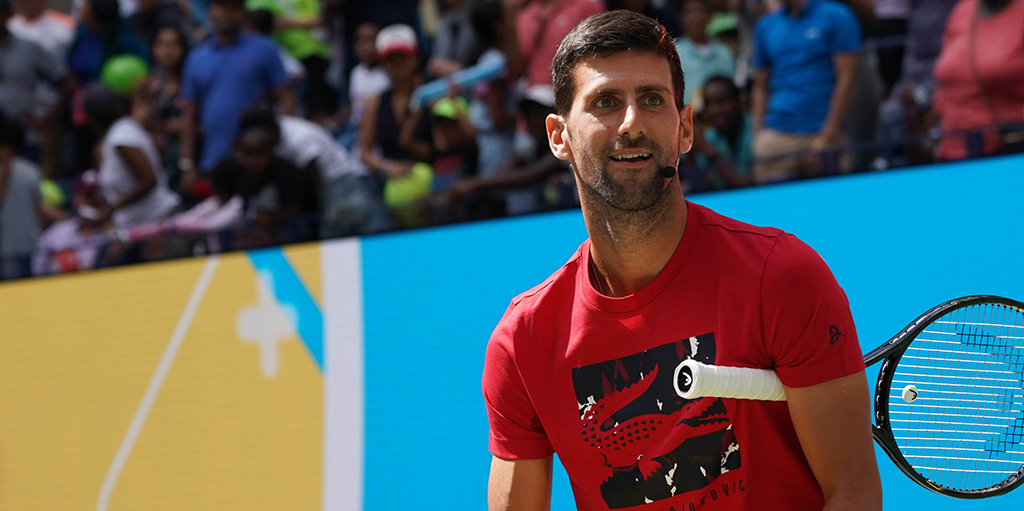 Novak Djokovic in practice at US Open