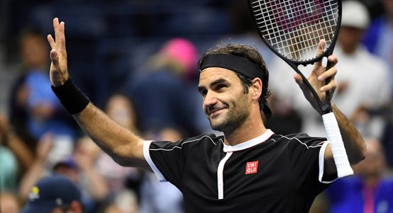 Roger Federer celebrates at US Open