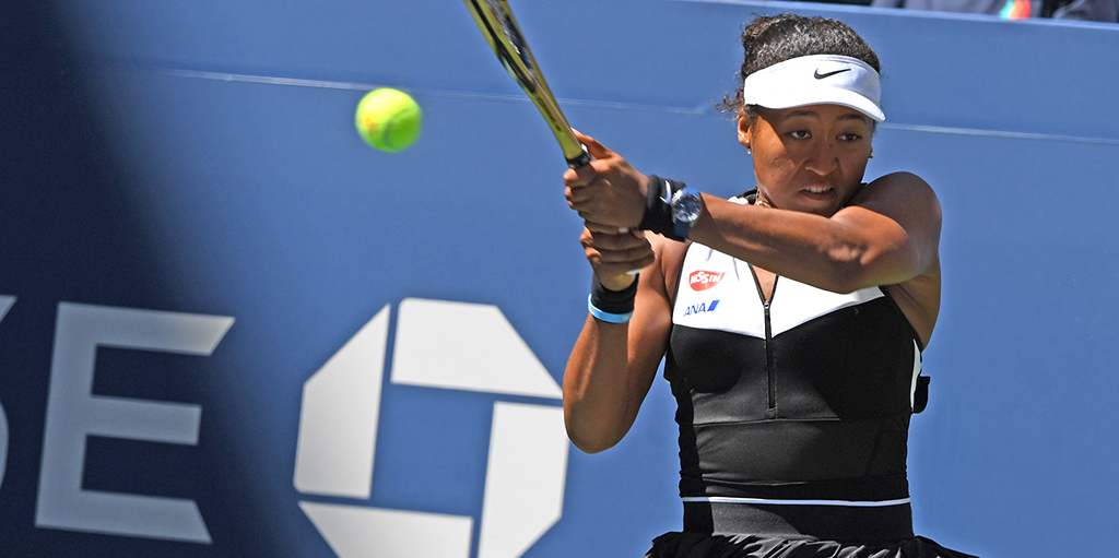 Naomi Osaka playing at US Open