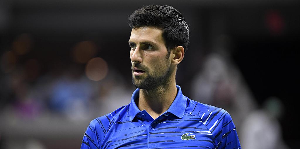 Novak Djokovic looks on at US Open