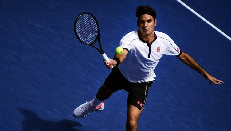 Roger Federer in action at US Open