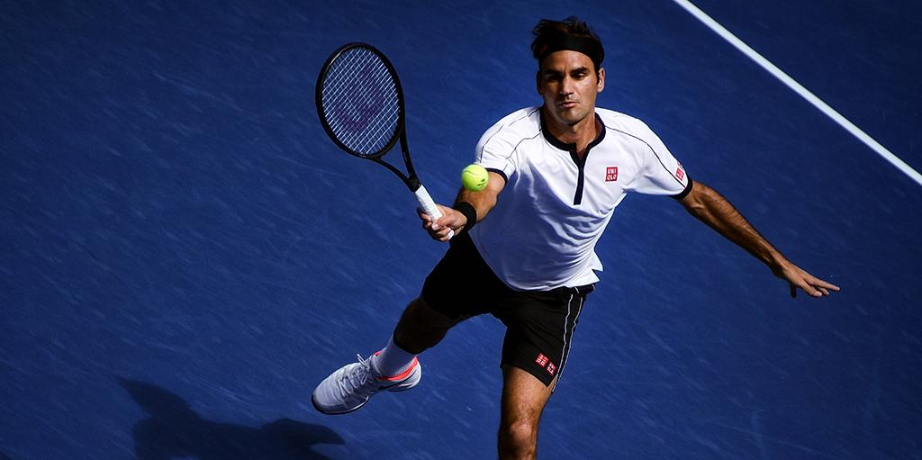 Roger Federer in action at US Open