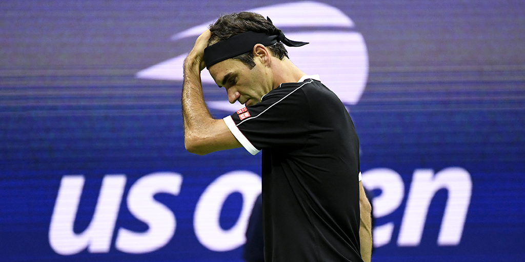 Roger Federer looking down at US Open