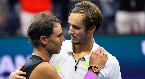 Rafael Nadal and Daniil Medvedev after US Open final
