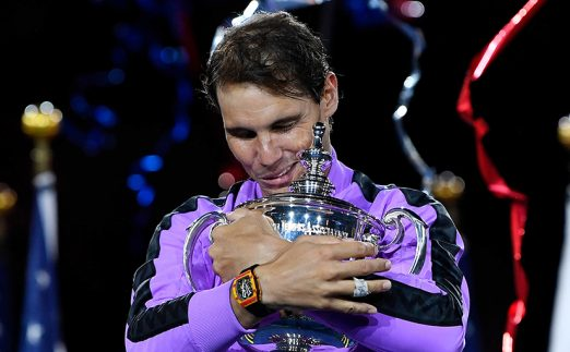 Rafael Nadal with US Open trophy