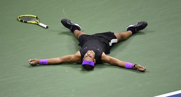 Rafael Nadal celebrates after US Open win