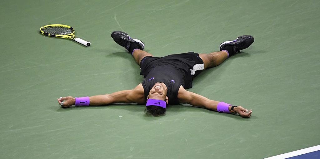 Rafael Nadal celebrates after US Open win