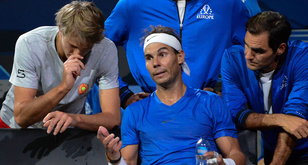 Rafael Nadal talking at Laver Cup