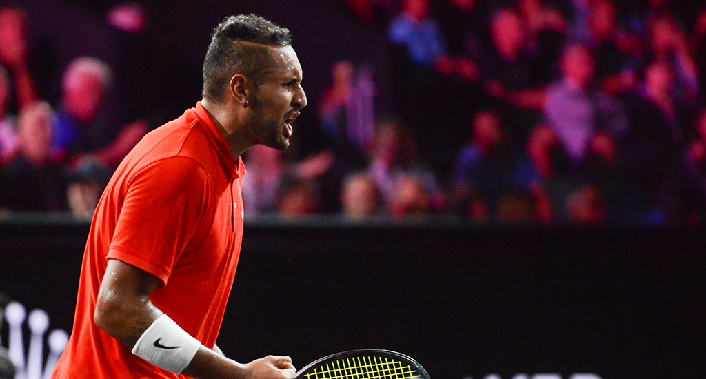 Nick Kyrgios in defeat to Roger Federer at Laver Cup