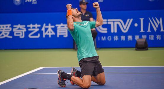 Pablo Carreno Busta celebrates winning Chengdu Open tennis title