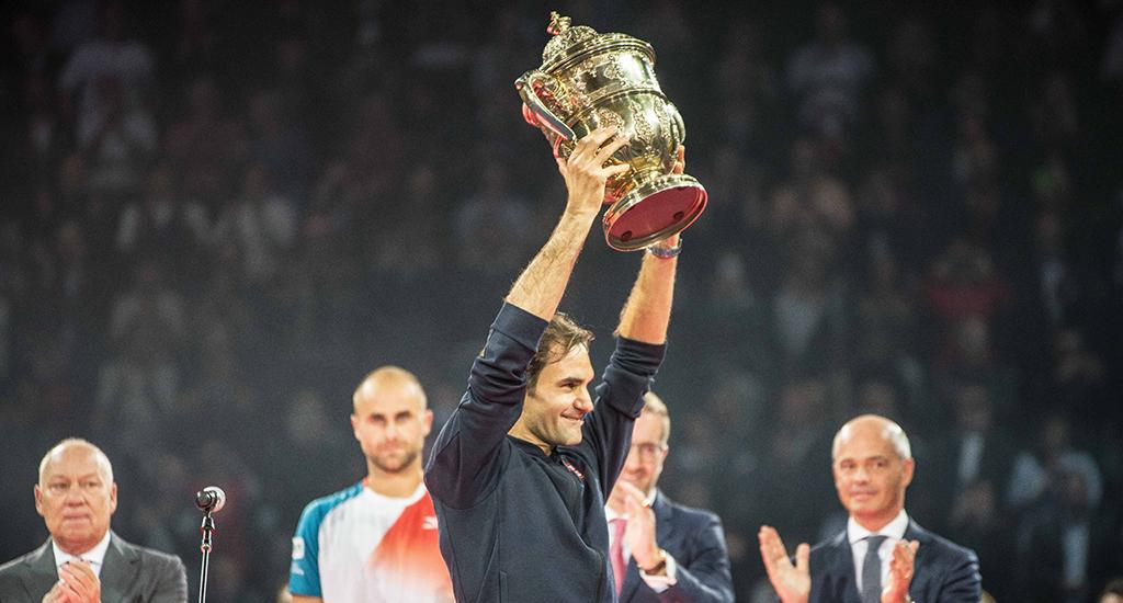 Roger Federer with Basel trophy