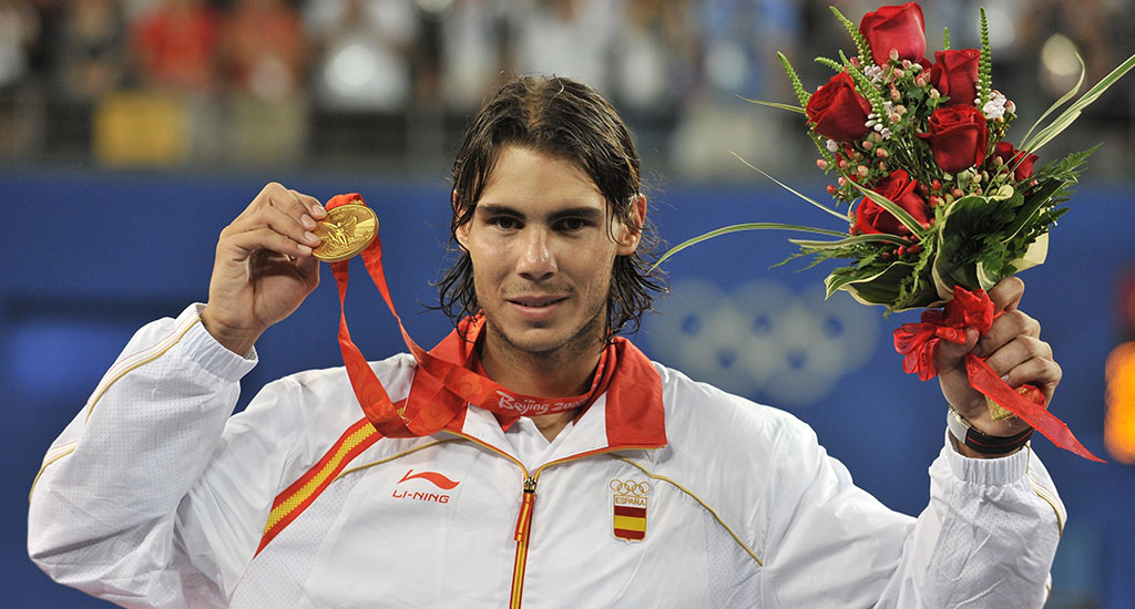 Rafael Nadal with Olympic gold medal