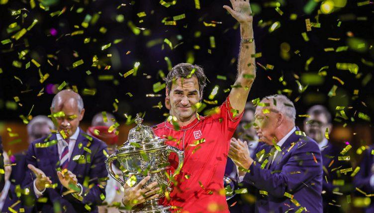 Roger Federer with 2019 Basel trophy