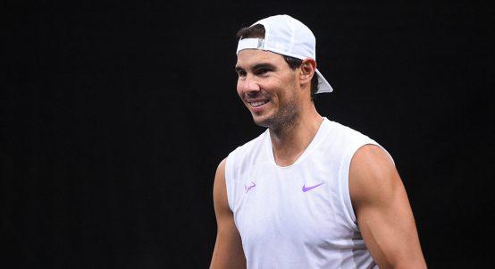 Rafael Nadal at Paris Masters practice